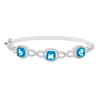 Picture of BRASS RHODIUM BLUE TOPAZ CROSSOVER DESIGN BANGLE