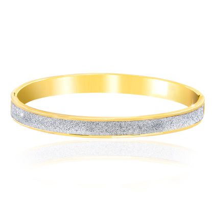 Picture of BRASS 2-TONE GOLD & RHODIUM GLITTER OVAL SHAPED HINGE BANGLE