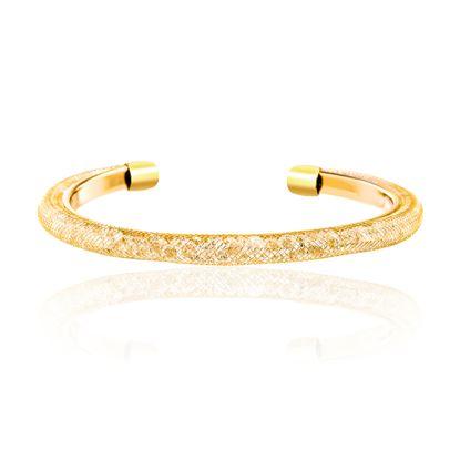 Imagen de Gold-Tone Brass Crystal Open Cuff Bangle