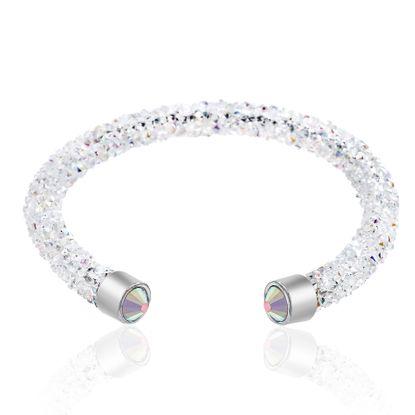 Imagen de Silver-Tone Brass Wrapped Aurore Boreale Crystal Open Cuff Bangle