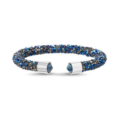 Imagen de Silver-Tone Brass Wrapped Blue Crystal Open Cuff Bangle
