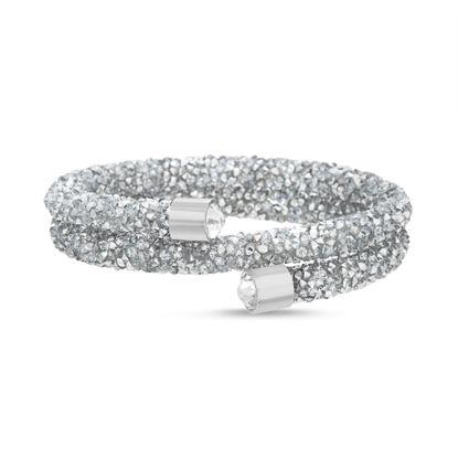 Imagen de Silver-Tone Brass Mirror Crystal Coil Wrap Bracelet