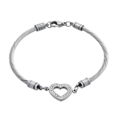 Imagen de Silver-Tone Stainless Steel Cubic Zirconia Open Heart Charm Twisted Cable Chain Bracelet