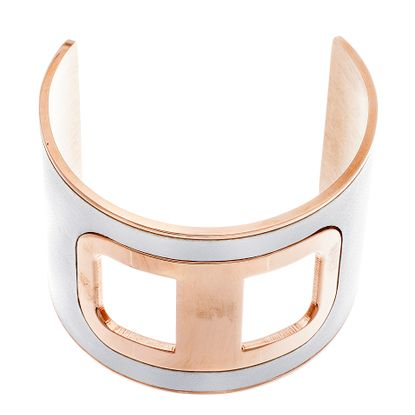 Imagen de Rose-Tone Stainless Steel Enamel Cuff Bangle