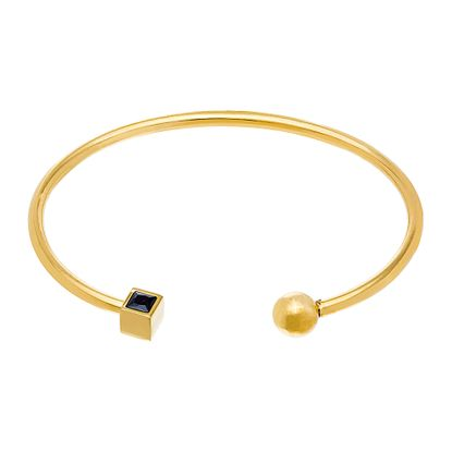 Imagen de Gold-Tone Stainless Steel Black Square End Cuf Bangle