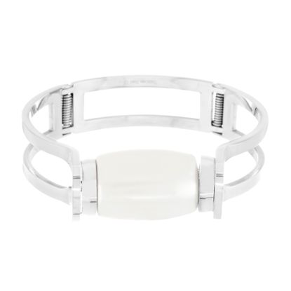 Imagen de Silver-Tone Stainless Steel Oval Pearl Bangle