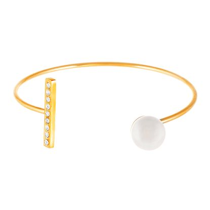 Imagen de Gold-Tone Stainless Steel Fresh Water Pearl and Cubic Zirconia Bar End Cuff Bangle