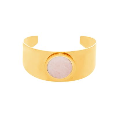 Imagen de Gold-Tone Stainless Steel Center Flat Rose Quartz Wide Band Open Cuff Bangle