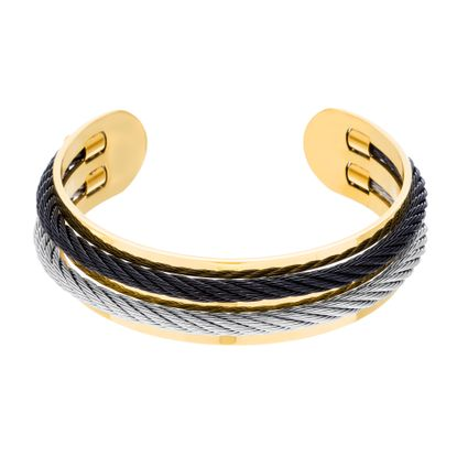 Imagen de Gold-Tone Stainless Steel Grey & Black Twisted Design Cord Cuff Bangle