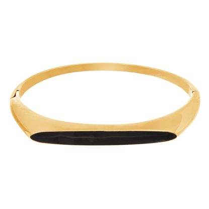 Imagen de Gold-Tone Stainless Steel Black Enamel and Flat Bar Hinge Bangle