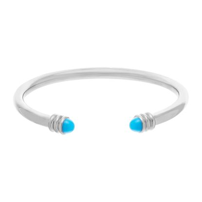 Imagen de Silver-Tone Stainless Steel Cubic Zirconia and Blue Stone Ends Cuff Bangle