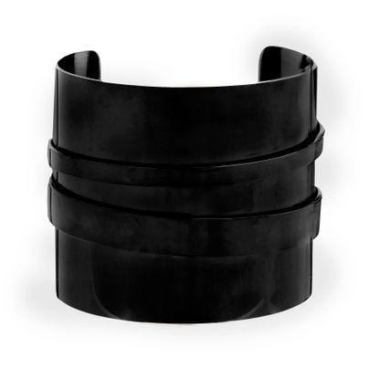 Picture of Black-Tone Stainless Steel Wide Cuff Bangle