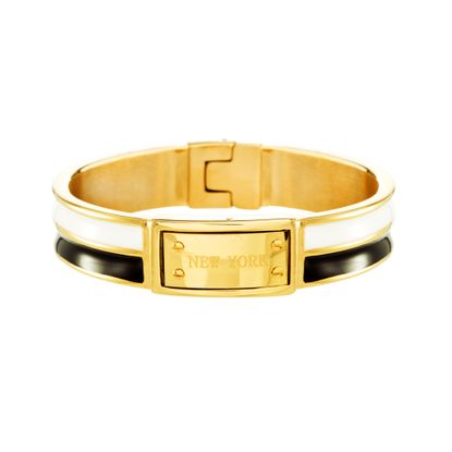 Imagen de Gold-Tone Stainless Steel Black and White Enamel Striped Bangle