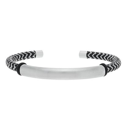 Imagen de Silver Tone Stainless Steel Oxidized Bar Cuff Bangle