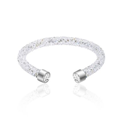 Imagen de Silver-Tone Stainless Steel Aurore Boreale Crystals Cuff Bangle