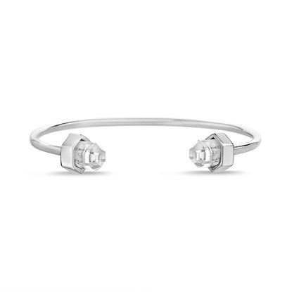 Imagen de Silver Tone Stainless Steel Crystal Cylinder Cuff Bangle