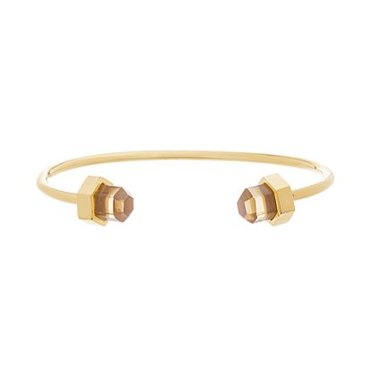 Imagen de Gold Tone Stainless Steel Champagne Crystal Cylinder Ends Cuff Bangle