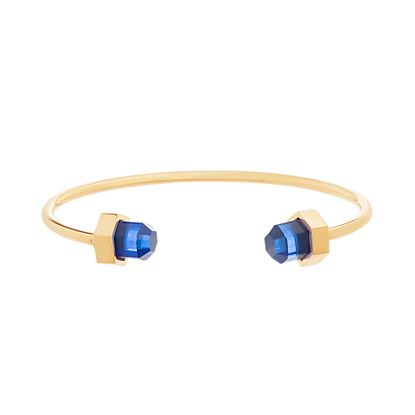 Imagen de Gold Tone Stainless Steel Royal Blue Crystal Cylinder Ends Cuff Bangle