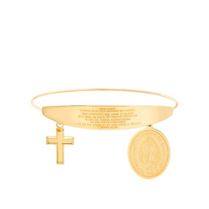 Imagen de Gold-Tone Stainless Steel Religious Oval Medal/Cross Prayer Charm Wire Design Adjustable Bangle