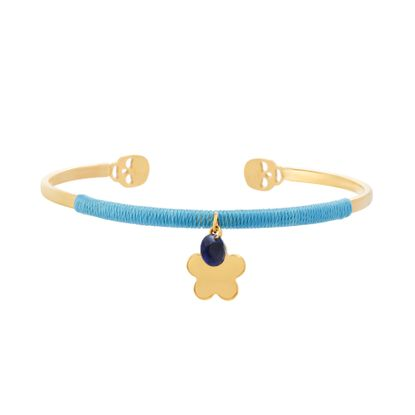 Imagen de Gold-Tone Stainless Steel Flower and Blue Cubic Zirconia Charms Wrapped Light Blue Cord Skull Endcaps Open Cuff Bracelet