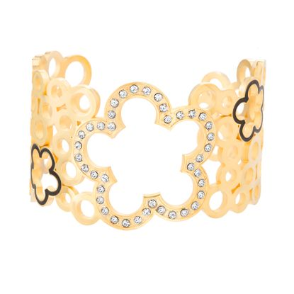 Imagen de Gold-Tone Stainless Steel Cubic Zirconia Flower and Circle Cutouts Open Cuff Bangle