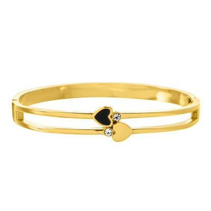 Imagen de Gold-Tone Stainless Steel Black Enamel Double Heart Double Strand Polished Hinge Bangle