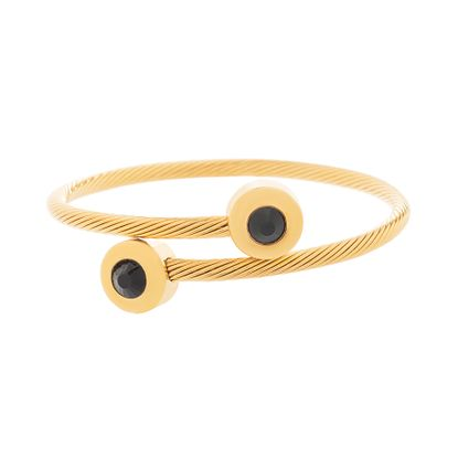 Imagen de Gold-Tone Stainless Steel Black Crystal Bezel Twisted Bypass Bangle