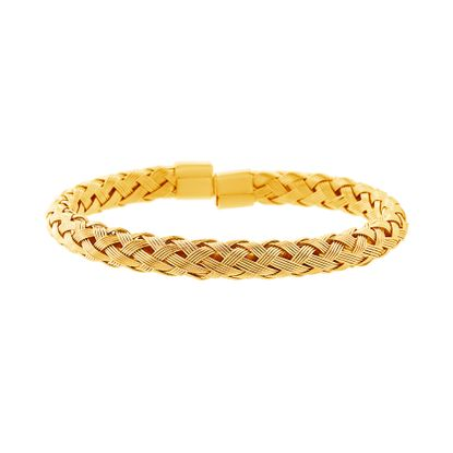 Imagen de Gold-Tone Stainless Steel Braided Design Cuff Bangle