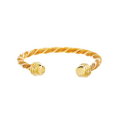 Imagen de Gold-Tone Stainless Steel Twisted Design Bangle