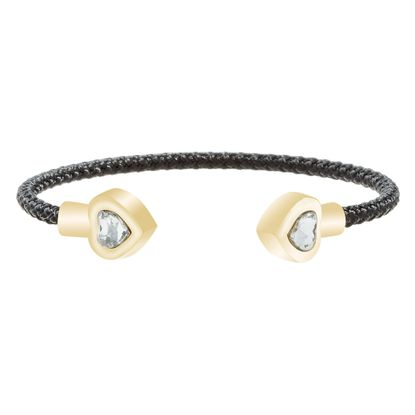 Imagen de Faceted Crystal Heart Ends Black Cord Bangle in Gold IP Stainless Steel