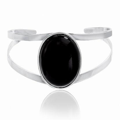 Imagen de Silver-Tone Alloy Black Stone Double-Strand Cuff Bangle