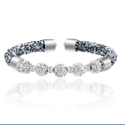 Imagen de Silver-Tone Alloy Clear Wrapped Crystal Ball Open End Bangle