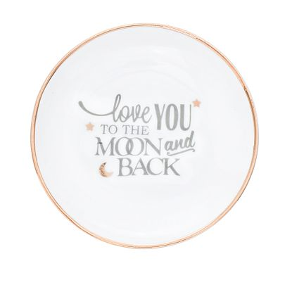 Imagen de WHITE CERAMIC LOVE YOU TO THE MOON AND BACK GOLD/SILVER ENAMEL TRINKET TRAY