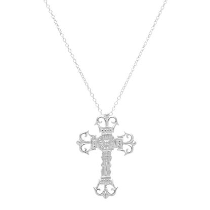 Imagen de Sterling Silver Ecoat Cross 16 Necklace