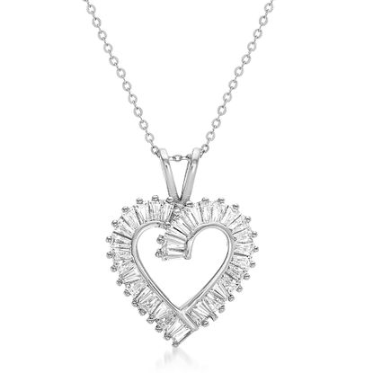 Imagen de Baguette Cubic Zirconia Open Heart Pendant 18 Cable Chain Necklace