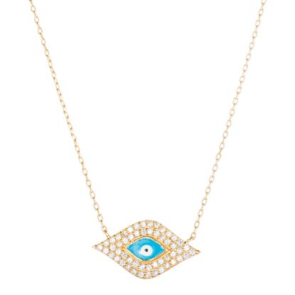 Imagen de Sterling Silver Cubic Zirconia Evil Eye Enamel Cable Chain Necklace