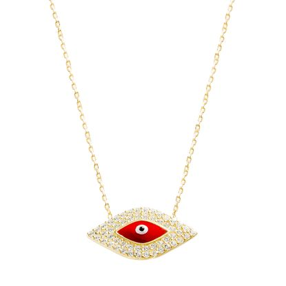Imagen de Sterling Silver Cubic Zirconia Border & Red Evil Eye Station Cable Chain Necklace