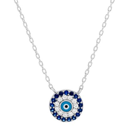 Imagen de Sterling Silver Cubic Zirconia Royal Blue and Light Blue Round Evil Eye Necklace