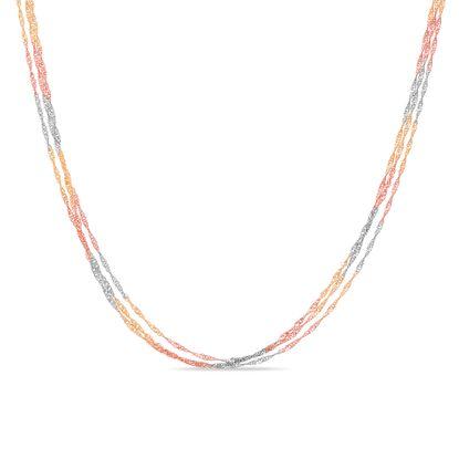 Imagen de Tri-Tone Sterling Silver Triple Layered 17+3 Singapore Chain Necklace