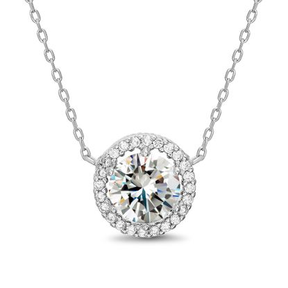 Imagen de Sterling Silver Round Cubic Zirconia Cable Chain Necklace