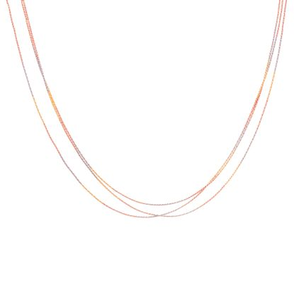 Imagen de Tri-Tone Sterling Silver Triple Layered 17+3 Cable Chain Necklace
