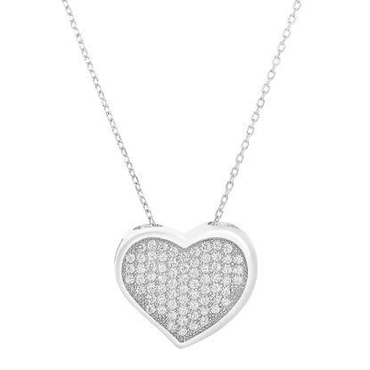 Imagen de Sterling Silver Cubic Zirconia 14mm Heart Pendant 18 Cable Chain Necklace