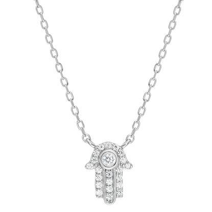 Imagen de Sterling Silver Cubic Zirconia Clear Hamsa Hand Cable Chain Necklace