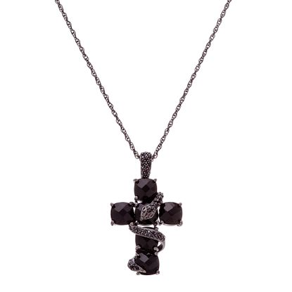 Imagen de Sterling Silver Black Onyx Cubic Zirconia Cross Cable Chain Necklace