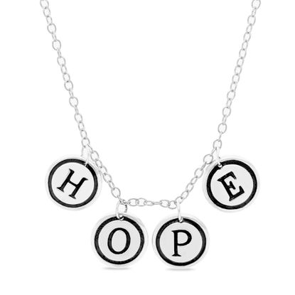 Imagen de Sterling Silver Ecoat HOPE Charm Necklace