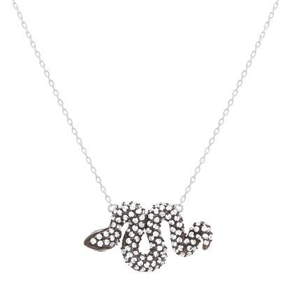 Imagen de Two Tone Sterling Silver Cubic Zirconia Green Eye Snake Pendant Cable Chain Necklace