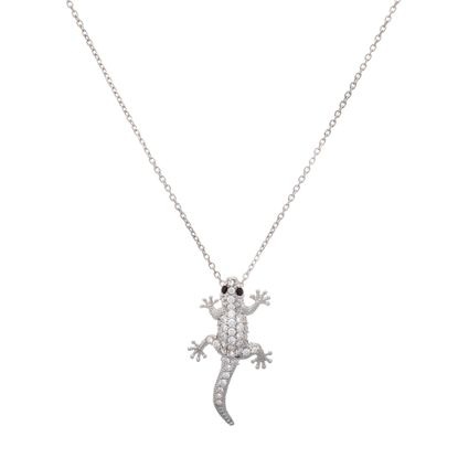 Imagen de Sterling Silver Cubic Zirconia Cable Chain with Lizard Pendant Necklace
