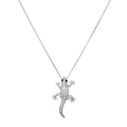 Imagen de Sterling Silver Cubic Zirconia Cable Chain with Lizard Pendant Necklace