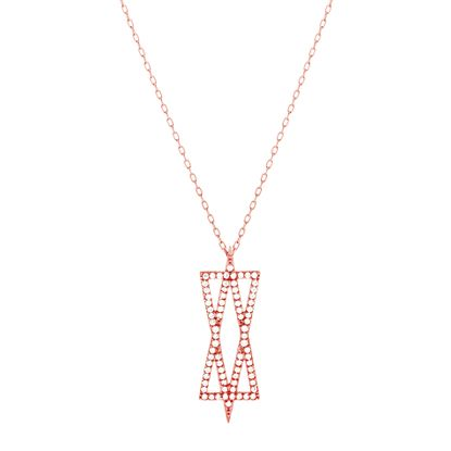 Imagen de Sterling Silver Cubic Zirconia Double Triangle Cable Chain Necklace