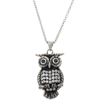 Imagen de Sterling Silver Cubic Zirconia Owl Pendant Cable Chain Necklace